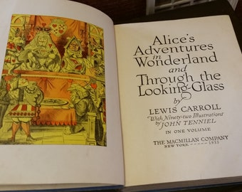 1933 Alice in Wonderland & Through the Looking Glass - Vintage Hardback Illustrated by John Tenniel