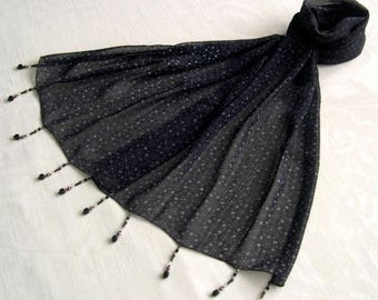 Scarf & beads, scarf and pearls, echrpe jewelry - discreet black and taupe 186