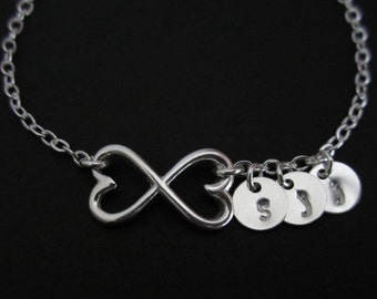 Infinity Bracelet. 3 Silver Initial Charms. Bridesmaid Bracelet. 3 Best Friends. 3 Sister Bracelet. Personalized Infinite Hearts Bracelet.