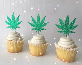 Stoner Party Decor  Pot Leaf Cupcake Toppers  Marijuanna Cupcake Toppers 