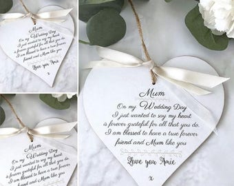 Personalised Mum/Mother Of The Bride Wedding Heart Gift P239