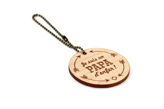 "Keychain ""I'm a super daddy"" - lasercut maple wood - round wooden keyring with message - graphic accessory - father - gift for man"