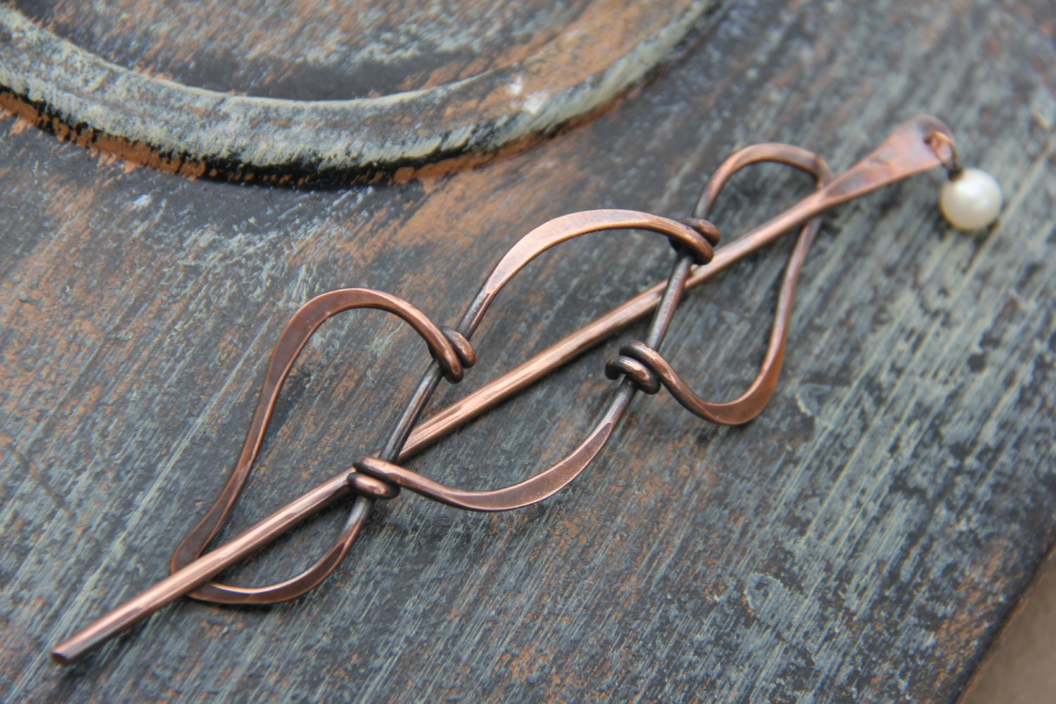 Hair slide hair stick hair pin oxidized copper and pearl