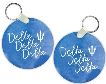 TriDelta Delta Delta Delta Watercolor Script Keychain Sorority Gift Sorority Keychain