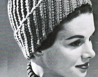 Knitted Spiral Lace Toque PDF Pattern / Womans girls children spiral toque pattern / PDF knitted hat pattern