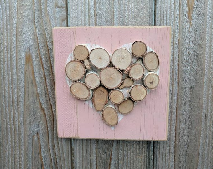 Rustic Heart- Heart Decor - Mini Log Slice Heart on White Painted Silhouette on Distressed Pink-Painted Cedar Wood