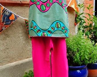 Ensemble haut et pantalon en tissu africain et en popeline de coton fuschia, taille 8 ans