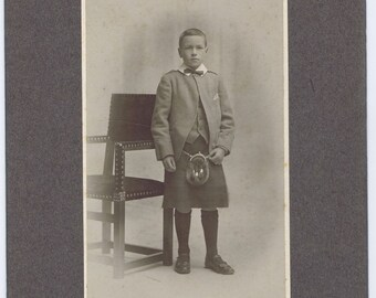Antique Vintage Scottish Boy Kilt Costume Photograph Glasgow c. 1900
