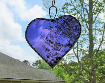 Grape Waterglass Heart - Stained Glass