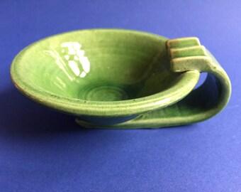 Midcentury ashtray, vintage ashtray, earthenware ashtray, green ashtray, collectible ashtray, ceramic ashtray, pottery ashtray, 1950s-1960s