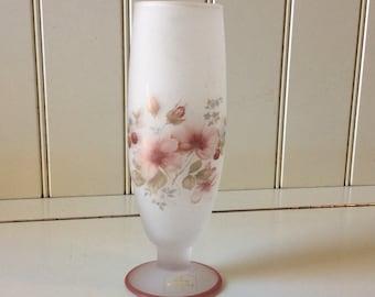 """Viking Art Glass/Viking Crystal Mist/Vintage Viking Glass/Decorated Viking Glass/Viking Glass Vase/Viking Flower Vase/Viking 7 1/2"""" Vase"""