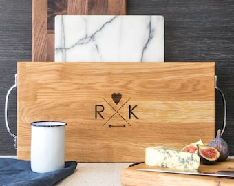 Large Solid Oak Cheese Board Couples Personalized serving platter large Personalized gifts for couples Wooden Anniversary gift