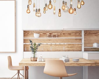 18 Pendant Edison Wood Chandelier - Dining Room Chandelier, Bare Bulb Pendants, Farmhouse Lighting