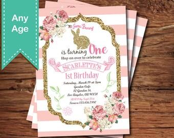 Bunny girl first birthday invitation. Pink and gold glitter Easter bunny floral birthday digital invitation. EKB03