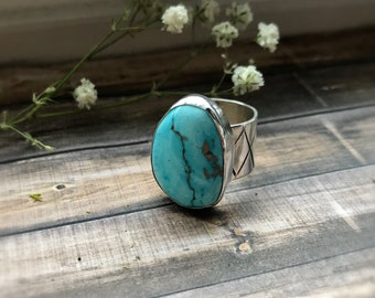 Turquoise Ring, Blueridge Chinese Turquoise, Statement Ring, Size 6-6.25, Sterling Silver, Handmade, Turquoise Jewelry, Big Ring, Wide Band