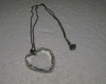 """Vintage Crystal Heart Necklace, 18"""" chain, Silver Tone,"""