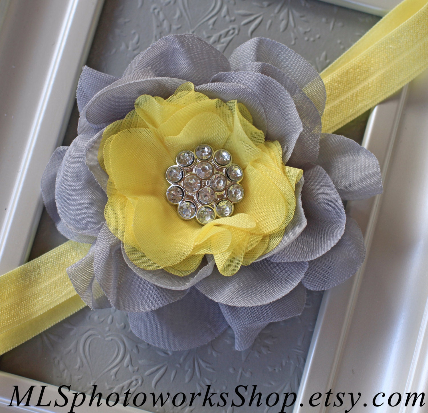 Light Yellow Grey Flower Headband Baby Girl Gray Flower