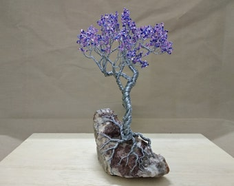 Wire Tree Handmade Beaded Bonsai Sculpture - Violet style