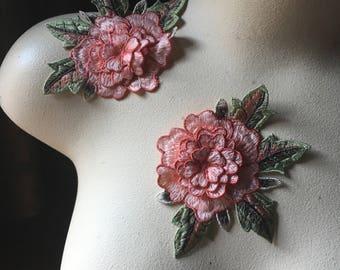 2  3D Peach Rose Appliques Rose for Garments, Costume Design CA 830pired