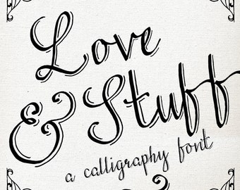 Calligraphy Font Download // Hand Drawn Pen // Graphic Design Tshirt Decal // Catchword Catch Word Flourish Ornament // Commercial Use