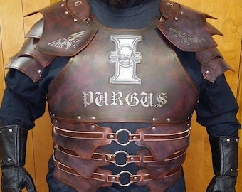 Leather Armor Dark Talon Chest Back & Shoulders with Graphics
