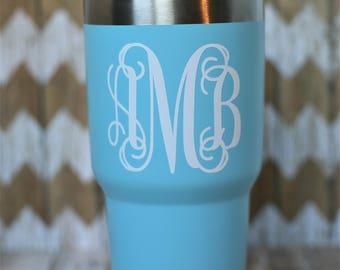 Light Blue Powder Coated Stainless Steel Tumbler with Vine Monogram