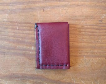 Minimal Leather Wallet, Handmade in Texas with Recycled Leather, Red/Brown