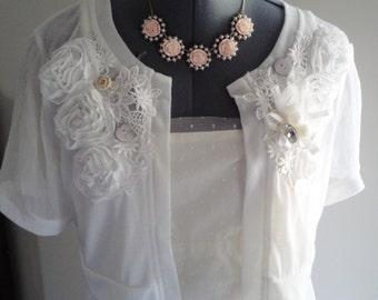 handmade wedding shrug, bridal shrug, white lace shrug, applique shrug, wedding jacket, wedding bolero
