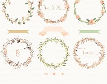 Rustic Laurels Wreaths Clipart. Rustic. Laurel Clipart. Floral Clipart. Vector Wreaths. 13 images, 300 dpi. Eps, Png files. Instant Download