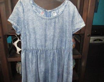 Denim/Blue Jean Short Sleeved Zipper Back Short Dress