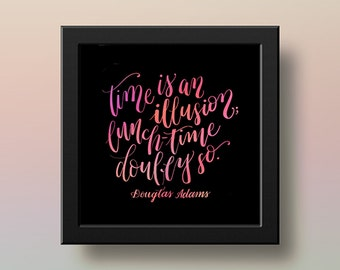 Hitchhikers Guide Quote Digital Print Hand-lettered