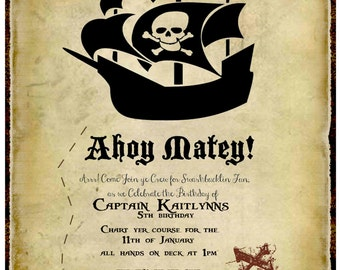 YOU PRINT!!! Pirate Birthday Party invitation Customized for you !!