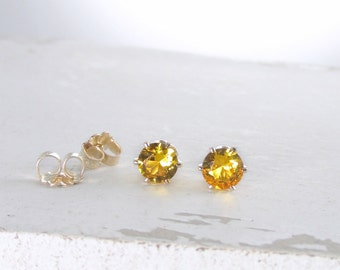 Gold Citrine Earrings November Birthstone Earrings Gold Citrine Stud Earrings Gemstone Stud Earrings Birthstone Jewelry Holiday Gift For Her