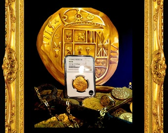 """Treasure Paintings by JR Bissell (not Coin) Mexico """"Fleet Shipwreck"""" Pirate Gold"""