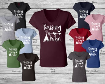 Raising My Tribe Tee Tshirt T-Shirt Womens VNeck V Neck Bella Canvas 6005 Boutique Tribal Mom Mommy Mother