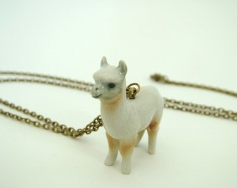 Llama necklace, porcelain animal, alpaca necklace, ceramic animal, porcelain necklace, ceramic necklace, zoo necklace, farm necklace,