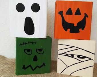 Handmade Halloween blocks, Halloween blocks, Halloween home decor, rustic home decor, Halloween block art, photo prop