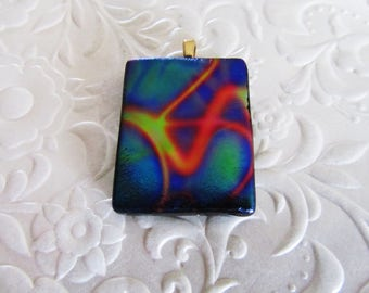 """Fused Dichroic Pendant - Dichroic Glass Jewelry - Dichroic Glass - Measures 1"""" x 1.25"""" (approx.)"""