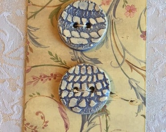 Handmade Ceramic Buttons ( Set Of 2 ) Periwinkle Blue