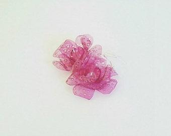 Eco friendly, earrings, flower earrings, recycled earrings, upcycled earrings, long earrings, pink, nature jewelry, teenagers earrings