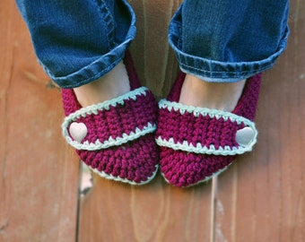 Boysenberry slippers, crochet slippers, booties, womens slippers, womens crochet slippers, winter fashion, socks, crochet shoes