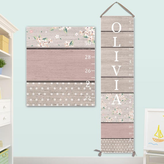 Pink and Grey Growth Chart - Canvas Growth Chart, Personalized Growth Chart, Girls Growth Chart - GC0116S