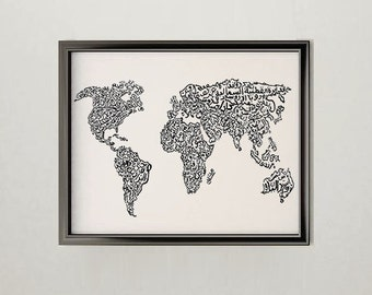 World Map Arabic Calligraphy Art Print Wall Decor (Cartography Drawing)