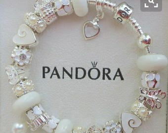Classic White -Top Seller  ~ Authentic PANDORA or LOVE - European Style Charm Bracelet Lampwork Glass And Crystal Beads & Charms