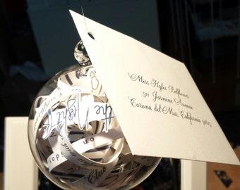 Invitation Announcement Inside Hand Blown Glass Ornament by Jenn Goodale
