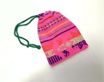 Mexican Favor Bag, Pink Fabric Loot Bag, Wedding Party Favor, Birthday Fiesta Decor, Aztec Party Decoration, Jewelry Drawstring Pouch