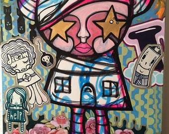 Stars in Her Eyes Painting street art can spray paint home star stickers slaps flower design collectible art original next new thing it girl
