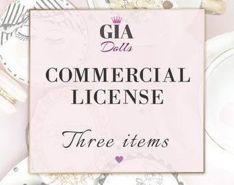 License for Commercial Use, No-Credit, for THREE Items, fashion Cliparts , Digital Paper Packs, Giadolls