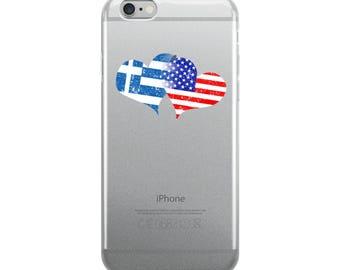 Greek Independence Day Love Greek Flag America Flag iPhone Case