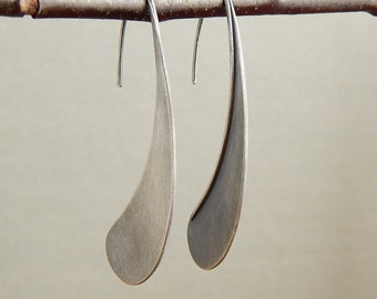 Statement earrings, large hand-cut sterling silver earrings, minimalist and modern, paisley teardrop, 2 inches long.